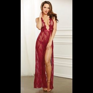 Dreamgirl Garnet Scalloped Halter Long Lace Gown